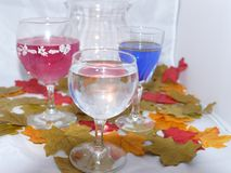 Autumn wine by candle light. Three glasses of wine one red,blue and white set among colourful autumn leaves Stock Photography