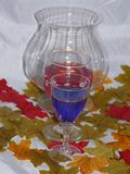 Autumn wine by candle light. Two glasses of wine one red,blue set among colourful autumn leaves by candle light Royalty Free Stock Photo