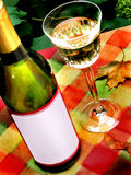 Autumn wine red label. Still life with wine glass and bottle,autumn scene with red label Stock Photography