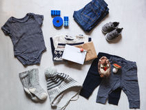 Autumn or winter children's outfit clothes. Stock Image