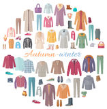 Autumn-Winter Clothes Collection Illustration. Set of autumn-winter clothes. Vector in flat design. Big collection of various wear and shoes for cold season Royalty Free Stock Image