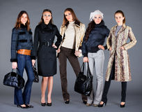 Autumn winter collection lady's clothes Stock Photos