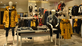 Autumn winter fashion Mannequins in  fashion clothing shop Royalty Free Stock Photography
