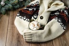 Autumn and winter hot drinks. Ideas for Christmas, Thanksgiving, Halloween. Cup with hot spicy cappuccino, with marshmallow and ci. Nnamon. Cozy, sweater, on a royalty free stock photo