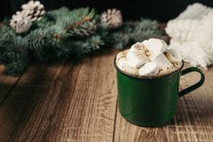 Autumn and winter hot drinks. Ideas for Christmas, Thanksgiving, Halloween. Cup with hot spicy cappuccino, with marshmallow and ci. Nnamon. Cozy, sweater, on a stock photos