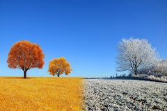 Autumn and winter landscape with blue sky. Stock Photos