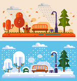 Autumn and winter landscapes. Flat design nature winter and autumn landscapes illustration, including bench in the park, lantern, leaf fall, snowfall, snow Royalty Free Stock Photos