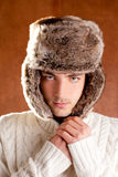 Autumn winter man with brown fur cup hat Royalty Free Stock Photography