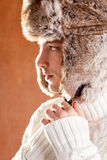 Autumn winter man with brown fur cup hat. Autumn winter man with brown fur  hat portrait Royalty Free Stock Photo