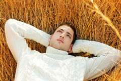 Autumn winter man portrait laying in golden grass Stock Photos