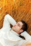 Autumn winter man portrait laying in golden grass Royalty Free Stock Photos
