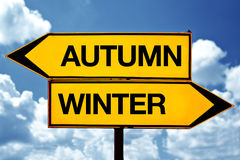 Autumn or winter, opposite signs Royalty Free Stock Images