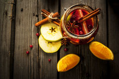 Autumn and winter sangria. With ingredients on rustic table, copy space stock photos