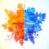 Autumn - winter season watercolor vector Stock Images