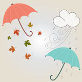 Autumn and winter seasons. Beautiful autumnal and winter season with umbrella and leafs. Vector illustration stock illustration