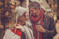 Autumn winter shopping tour Royalty Free Stock Image