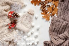 Autumn and winter stylish woman`s outfit. Sweater, hat, shoes and small autumn related items, top view. Royalty Free Stock Photography
