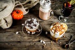 Autumn winter warm drinks stock image