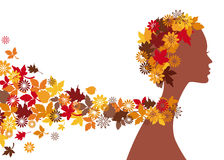 Autumn woman. Woman with autumn leaves, vector Stock Image
