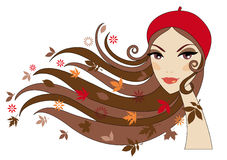 Autumn woman. Woman with autumn leaves in her hair, vector Stock Photos