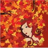 Autumn woman. Beautiful Autumn woman illustration background Royalty Free Stock Photo