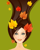Autumn woman. Vector illustration of autumn woman Royalty Free Stock Image