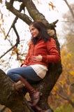 Autumn woman. Pretty autumn girl  and tree Stock Photo