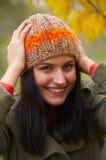 Autumn woman. Pretty girl in a autumn park Royalty Free Stock Photos