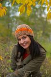 Autumn woman. Pretty girl in a autumn park Royalty Free Stock Image
