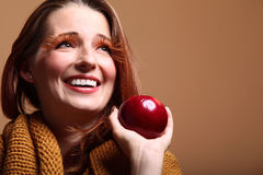 Autumn woman apple fashion female eye-lashes Stock Photography