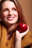 Autumn woman apple fashion female eye-lashes Royalty Free Stock Photos