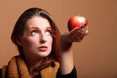 Autumn woman apple fashion female eye-lashes Stock Image