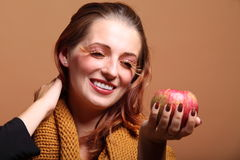 Autumn woman apple fashion female eye-lashes Royalty Free Stock Images