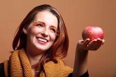 Autumn woman apple fashion female eye-lashes Stock Photo
