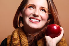 Autumn woman apple girl glamour eye-lashes Stock Images