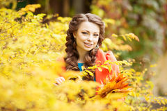 Autumn woman on background fall landscape leaves of trees. Girl Stock Image