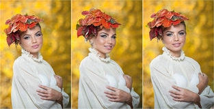 Autumn Woman. Beautiful creative makeup and hair style in outdoor shoot. Beauty Fashion Model Girl with Autumnal Make up and Hair Royalty Free Stock Photo