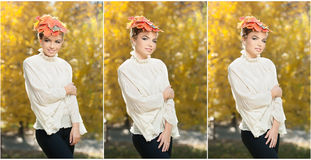 Autumn Woman. Beautiful creative makeup and hair style in outdoor shoot .Beauty Fashion Model Girl with Autumnal Make up and Hair Royalty Free Stock Photography