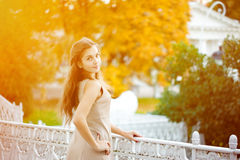 Autumn woman. Beautiful young girl in autumn park Royalty Free Stock Photo