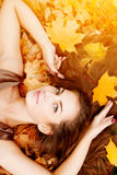 Autumn woman. Beautiful young girl in autumn park Stock Photography