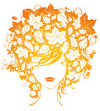 Autumn woman. Bright illustration of woman with leaves in her hair  on white background Stock Images