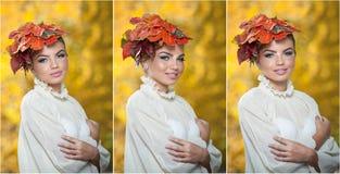 Autumn Woman. Composição e penteado criativos bonitos no tiro exterior. O modelo de forma Girl da beleza com outonal compõe e cabe Foto de Stock Royalty Free