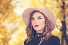 Autumn Woman Fashion Model en Grey Hat Foto de archivo libre de regalías
