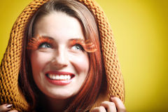 Autumn woman fresh girl brown hair eye-lashes. Autumn woman in fashion female, fresh girl glamour eye-lashes charming sweet radiant joyful smile Royalty Free Stock Photos