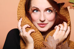 Autumn woman fresh girl brown hair eye-lashes Royalty Free Stock Photography