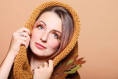 Autumn woman fresh girl glamour brown hair eye-lashes Royalty Free Stock Images