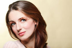 Autumn woman fresh girl glamour brown hair eye-lashes Royalty Free Stock Photography