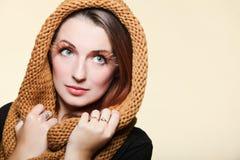Autumn woman fresh girl glamour brown hair eye-lashes Stock Image