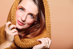 Autumn woman fresh girl glamour brown hair eye-lashes Royalty Free Stock Image