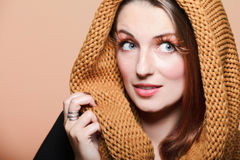 Autumn woman fresh girl glamour brown hair eye-lashes Stock Photography